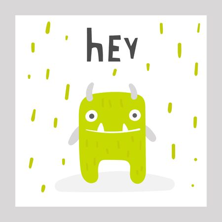 Cute monster with lettering quote hello. Card, postcard, poster with funny creature 矢量图像