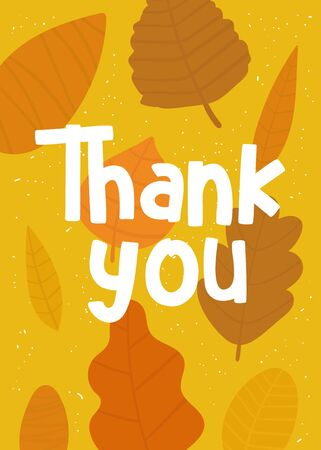 Thanksgiving day card, postcard, poster, flyer with leaves, thank you quote.
