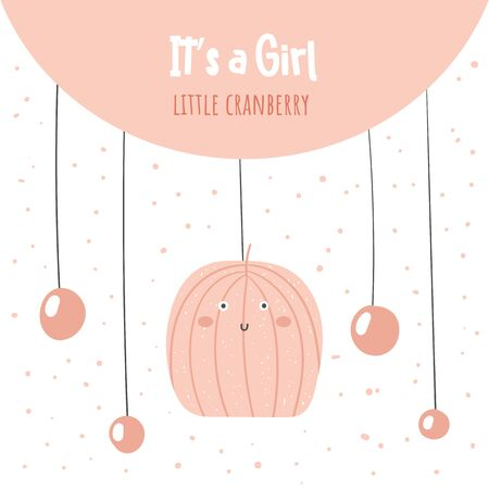 Its a girl baby shower card, postcard, poster for birthday with cranberry, berries. Иллюстрация