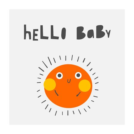 Baby shower cute card, postcard, invitation, page with sun, lettering quote.