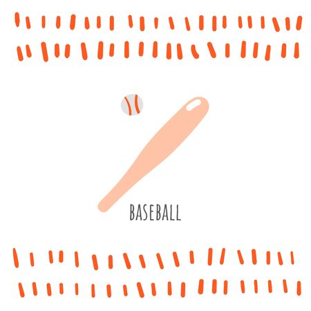 Baseball sport doodle card, postcard, tag, cover, background with text Banco de Imagens - 131965461
