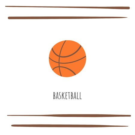 Basketball sport doodle card, postcard, tag, cover, background with text