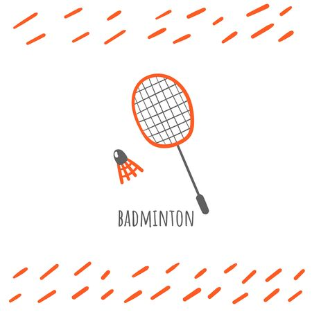 Badminton sport doodle card, postcard, tag, cover, background with text 矢量图像