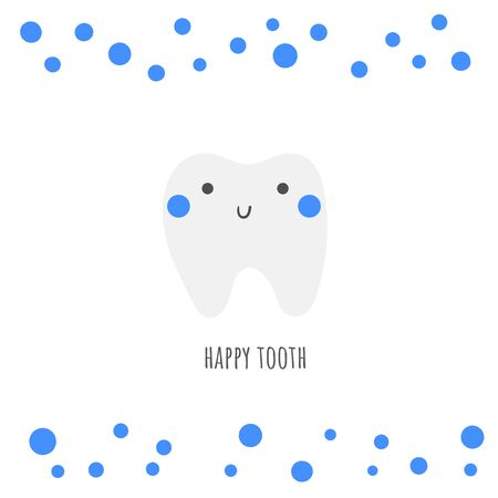 Teeth care illustration. Cute hand drawn healthy happy tooth character. 스톡 콘텐츠 - 131965173
