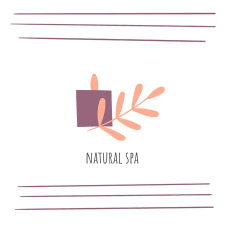 Candle and bamboo leaves spa icon for relaxation, bodycare, skincare.
