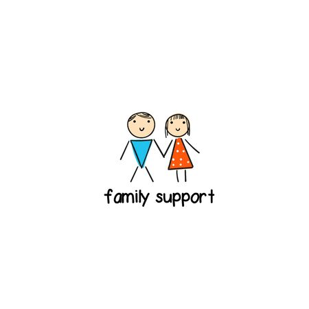 Family with man and woman in doodle hand drawn style. Sign for support center