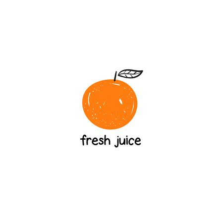 Orange with leaf. Fresh juice sign with text space 矢量图像