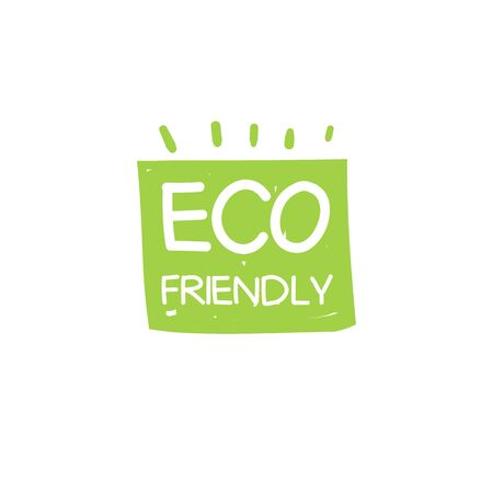Eco on green square spot with abstract element. Sign for eco friendly company