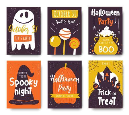 Halloween cute hand drawn doodle card, postcard, poster, invitation, flyer 矢量图像