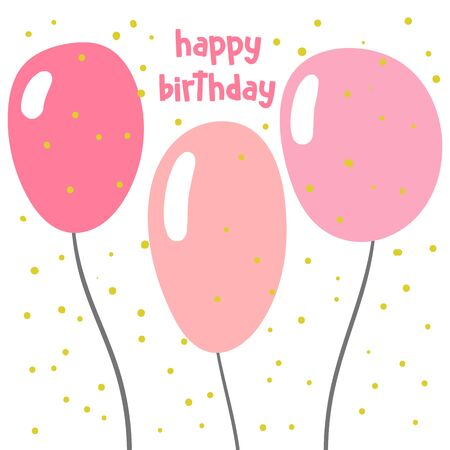 Happy birthday card, postcard, poster, background with cute balloons. 矢量图像
