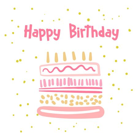 Happy birthday card, postcard, poster, background with cute cake.