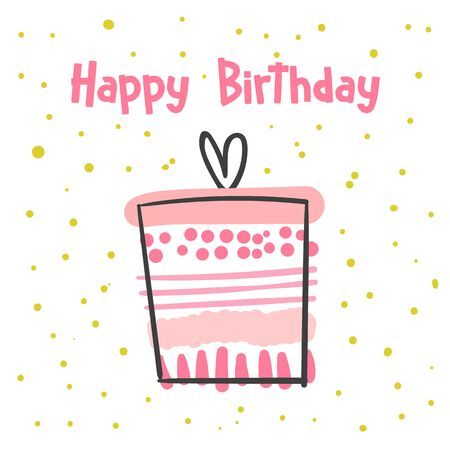 Happy birthday card, postcard, poster, background with cute doodle gift. Ilustracja