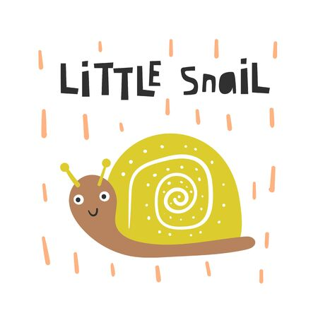 Cute insect for kids. Funny doodle card, postcard, poster with snail
