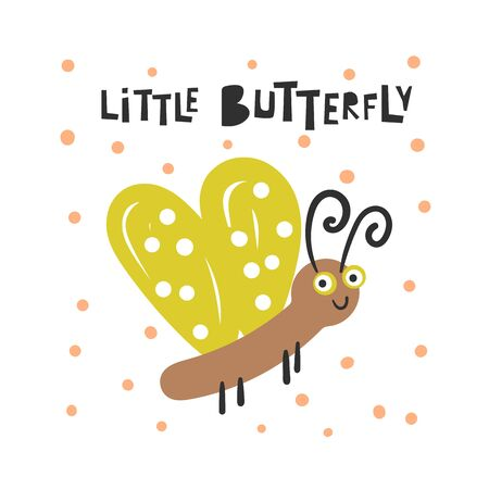 Cute insect for kids. Funny doodle card, postcard, poster with butterfly 일러스트