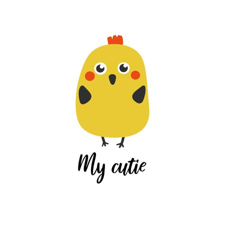 My cutie nursery, baby shower card, postcard, poster with yellow chicken. Cute illustration for new born child, print