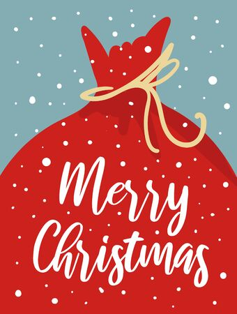 Merry Christmas card with cute Santa bag, snowflakes, text. Doodle winter holidays, noel background, poster Фото со стока - 131965358