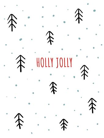 Merry Christmas card with cute black and white fur trees, snowflakes, text. Doodle winter holidays, noel background, poster Фото со стока - 131965079