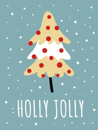 Merry Christmas card with cute fur tree, snowflakes, text. Doodle winter holidays, noel background, poster