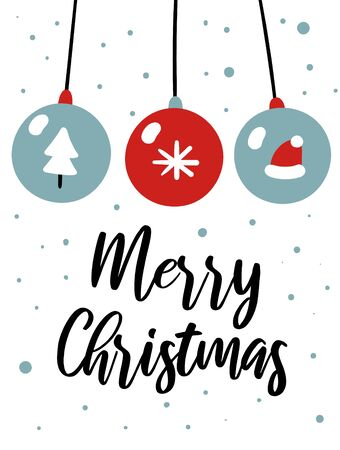 Merry Christmas card with cute glass balls, fur tree, Santa hat, snowflakes, text. Doodle winter holidays, noel background 免版税图像
