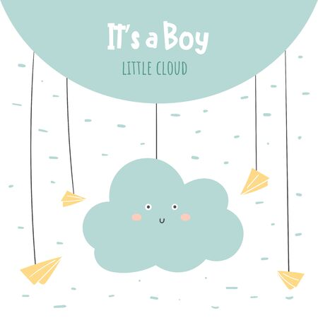 Its a boy baby shower card, postcard, poster for birthday with cloud, paper planes, sky.