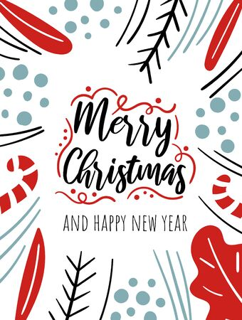 Merry Christmas card with cute plants, berries, fur tree branches, leaves, text. Doodle winter holidays, noel background, poster Фото со стока - 131965321