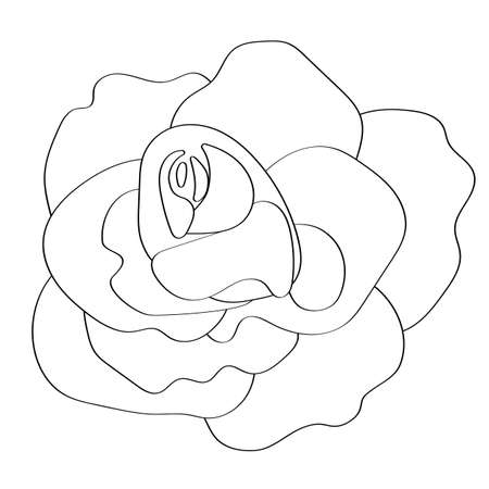 The rose is drawn in black outline, a fragrant summer flower. Icon symbol for the decoration of the design of a romantic postcard.
