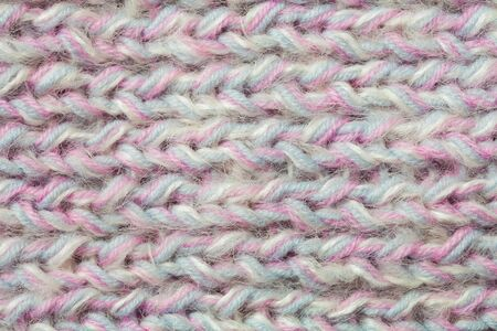 pastel colors rainbow knitted texture. close up Stock Photo