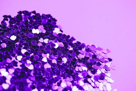 Ultra violet glitter hearts. Bright and festive st. valentines greeting concept. 写真素材