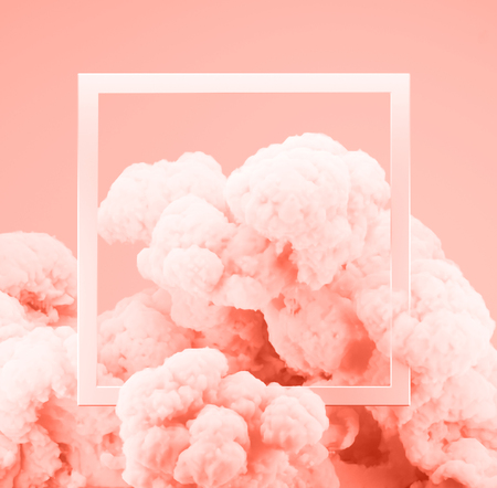 Abstract pastel living Coral color paint smoke or explosion with pastel pink background.