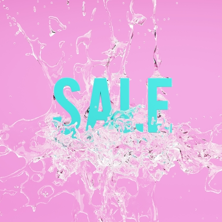 Sale minimal concept. Water splashes on pink background