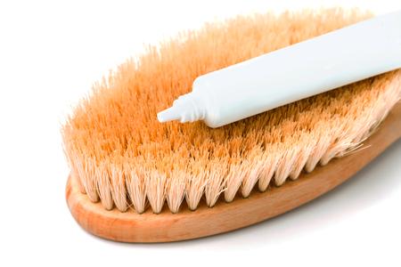 Macro photo of cactus fiber brush isolated on white. Spa beauty concept. Foto de archivo