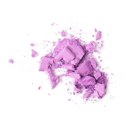 A broken pink eye shadow make up palette isolated on a white background. Top view, flat lay. Copy space for your text