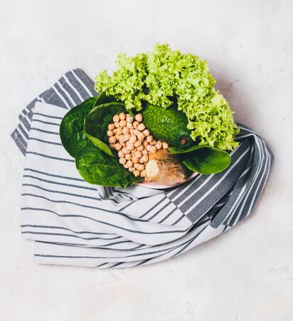 Vegan superfoog bowl with towel. Top view, flat lay. Banque d'images - 127123126