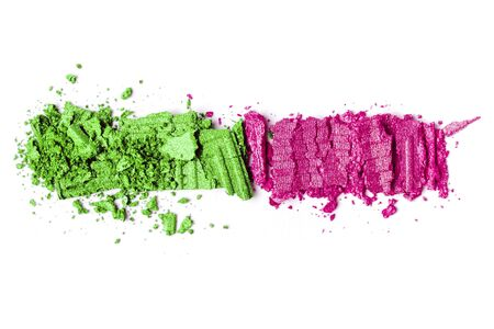 pink and green Eye shadow set isolated on white