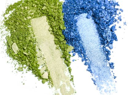 Green and blue Eye shadow set isolated on white