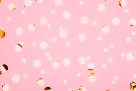 Pink confetti and stars and sparkles on pink background. 写真素材 - 134737874