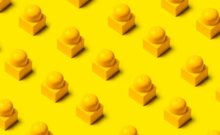 Top view of plastic blocks background. Flat lay image of toy background.