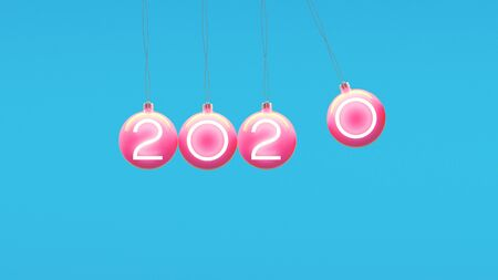 Minimal 2020 new year creative idea concept: Christmas balls on blue background. Copyspace for text 写真素材 - 134738082