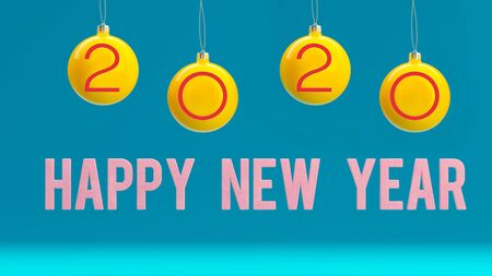 Minimal 2020 new year creative idea concept: Christmas balls on blue background. Copyspace for text 写真素材 - 134738086