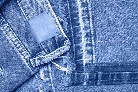 Classic blue Macro jeans texture. Close up picture. Color of year 2020.