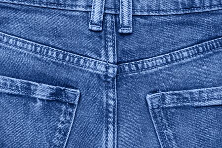 Classic blue Macro jeans texture. Close up picture. 写真素材