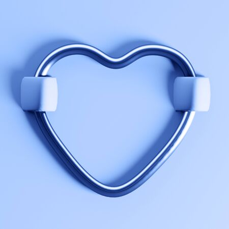 metal heart on classic blue velvet fabric. Valentines day minimal concept. 写真素材