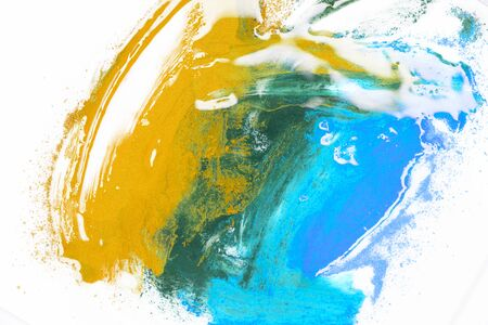 Acrilic abstract painting, blue and yellow gloss colors 写真素材