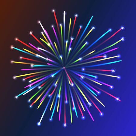 petard: Colorful firework over blue background. Vector illustration. Celebration symbol. Illustration