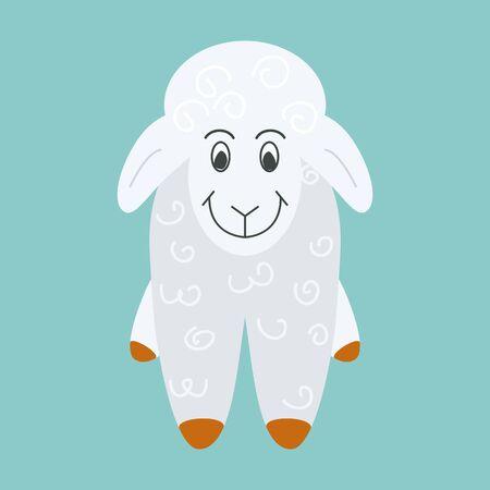 sacrifice: Cute smiling white sheep. Vector illustration of farm animal.