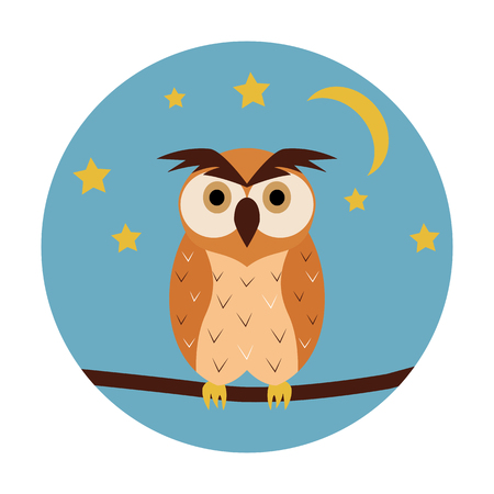 night owl: Night owl circle icon. Vector illustration. Blue sky with stars and moon.