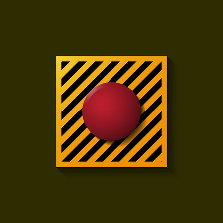 start button: Red launch button over dark background.Vector illustration of start button.