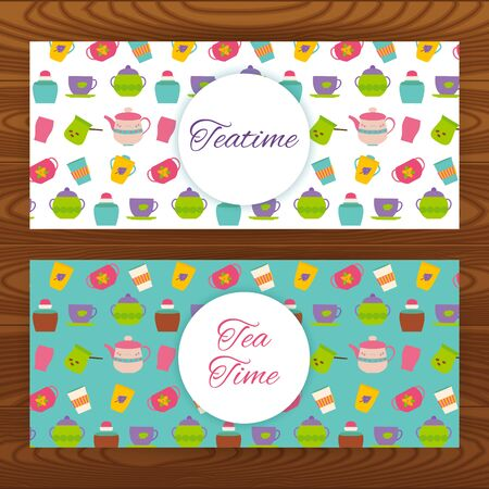 teatime: Teatime web banners on wooden texture. Vector illustration of tea cups and teapots.
