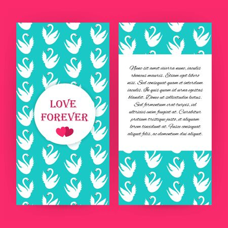 wedding love: Love forever blue flyer brochure with white swans. Vector illustration of love corporate identity.