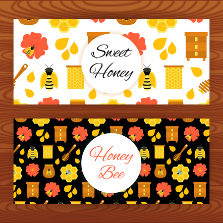 apiculture: Honey bee web banners on wooden texture.illustration of apiculture template.